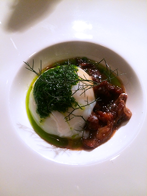 Lamb belly and porched egg with gramorata