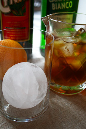 sphere ice cube in the glass